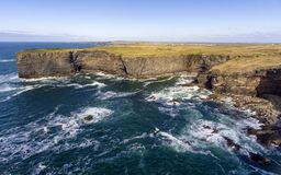 Aerial birds eye view Loop Head Peninsula landscape, along the wild atlantic way in West Clare Ireland royalty free stock photos