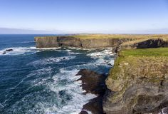 Aerial birds eye view Loop Head Peninsula landscape, along the wild atlantic way in West Clare Ireland royalty free stock photo