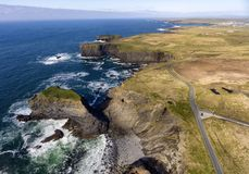 Aerial birds eye view Loop Head Peninsula landscape, along the wild atlantic way in West Clare Ireland stock photos