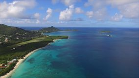 Aerial birds eye view photo taken by drone of Caribbean tropical Island Stock Image