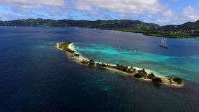 Aerial birds eye view photo taken by drone of exotic tropical island Royalty Free Stock Photos