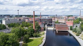 Aerial birds eye view of the Tampere city at sunny summer day royalty free stock image