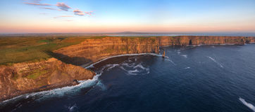 Aerial birds eye view from the world famous cliffs of moher in county clare ireland. beautiful irish scenic landscape. Aerial birds eye view from the world Stock Photography