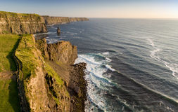 Aerial birds eye view from the world famous cliffs of moher in county clare ireland. beautiful irish scenic landscape. Stock Photos