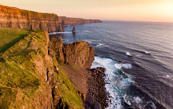 Aerial birds eye view from the world famous cliffs of moher in county clare ireland. beautiful irish scenic landscape. Stock Photography