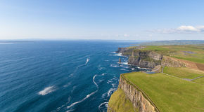 Aerial birds eye view from the world famous cliffs of moher in county clare ireland. beautiful irish scenic landscape. Stock Photo