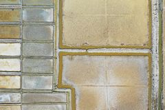 Aerial birds view from the sky of a salt pans fields structure and architecture pattern in Slovenia. Strunjan royalty free stock images