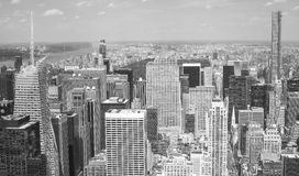 Aerial black and white picture of Manhattan, New York City. Royalty Free Stock Photography