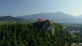 Aerial Bled castle view, Slovenia stock video footage