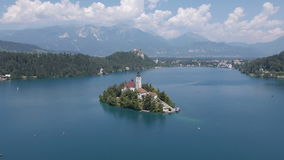 AERIAL: The Bled island stock video footage