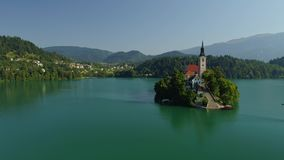 Aerial Bled lake view, Slovenia. Aerial Bled lake view from drone stock video