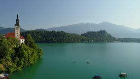 Aerial Bled lake view, Slovenia. Aerial Bled lake view from drone stock footage