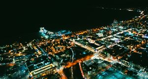 Aerial blurred view of the Santa Monica shoreline at night Stock Image