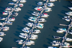 Aerial boats in harbor. Private boats in harbor on Lake Michigan Aerial photo Stock Image