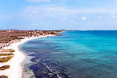 Aerial from Boca Catalina on Aruba island. In the Caribbean Sea Royalty Free Stock Images