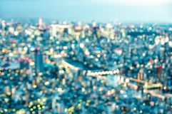 Aerial bokeh of Tokyo skyline from above after sunset on blue hour Royalty Free Stock Photos
