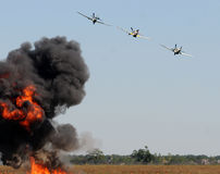 Aerial bombardment Stock Images