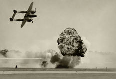 Aerial bombardment. World War II era battle and bombbing Royalty Free Stock Photos