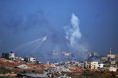 Aerial bombing explosion in Gaza Strip Royalty Free Stock Image