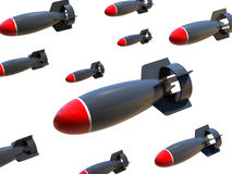 Aerial bombs on a white background. 3d aerial bombs on a white background Stock Images