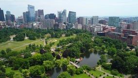 Aerial Boston Common. Park 4k prores stock video footage