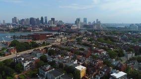 Aerial boston 4k drone shot stock footage
