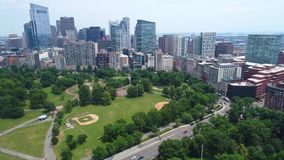 Aerial boston prores video. Aerial Boston Common Park 4k prores stock video footage