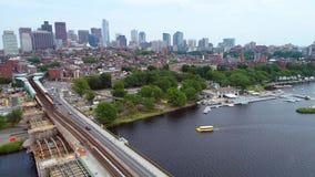 Aerial boston train tracks Downtown Boston stock footage
