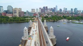 Aerial boston train tracks Downtown Boston 4k 60p stock video