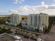 Aerial Boynton Beach Florida residential condominium. Aerial real estate photo Boynton Beach condominium 400 north federal highway boynton beach fl Royalty Free Stock Photo