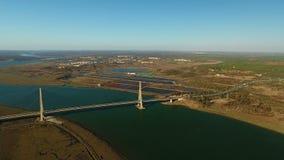 aerial Brücke über Guadiana Grenze Spanien Portugal stock video footage