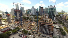 Aerial Brickell City Center under development stock video footage