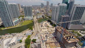 Aerial Brickell City Center under development stock footage