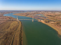 Aerial. Bridge on the border of Spain and Portugal. River Stock Photography