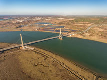Aerial. Bridge over the Guadiana River in Ayamonte. Portugal Stock Photos