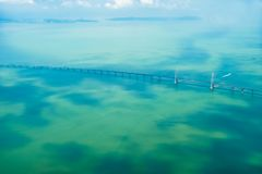 Aerial the bridge. Royalty Free Stock Image