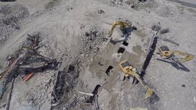 Aerial building demolition 6 stock video footage