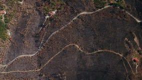 Aerial. Burnt lands in the forests Monchique of Foya. Algarve. Portugal stock video