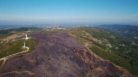 Aerial. Burnt lands in the forests Monchique of Foya. Algarve Portugal stock footage