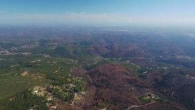 Aerial. Burnt lands in the forests Monchique of Foya. Portugal. Aerial. Burnt lands in the forests Monchique of Foya. Algarve Portugal stock video footage