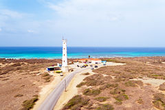Aerial from California LIghthouse on Aruba island in the Caribbe Stock Photo
