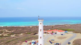 Aerial from California lighthouse on Aruba island stock video footage
