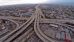 Aerial California Los Angeles Freeways stock footage