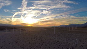Aerial California Windmills. Aerial video of the windmills at sunrise in California stock footage