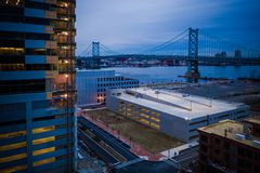 Aerial of Camden sunset overlooking Benjamin Franklin Bridge stock photos