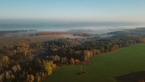 Aerial camera flies over the fields and forests. in the distance is fog on the horizon. Video footage. Beautiful morning nature stock video