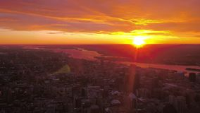 Aerial Canada Montreal July 2017 Sunrise 4K Inspire 2. Aerial video of Montreal at sunrise on a beautiful morning stock video footage