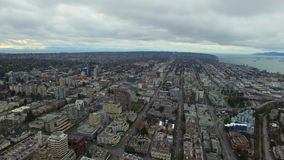 Aerial Canada Vancouver BC. Aerial video of downtown Vancouver BC in Canada on an overcast day stock video
