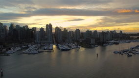Aerial Canada Vancouver BC. Aerial video of downtown Vancouver BC in Canada at sunset stock video footage