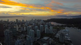 Aerial Canada Vancouver BC. Aerial video of downtown Vancouver BC in Canada at sunset stock video